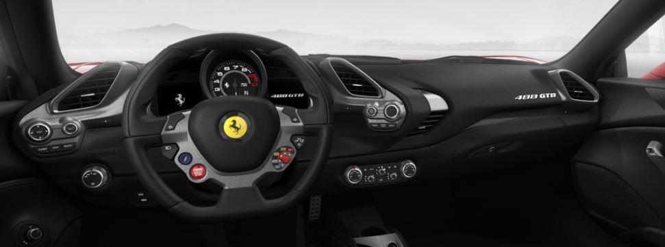 Imagen del interior del Ferrari 488 GTB