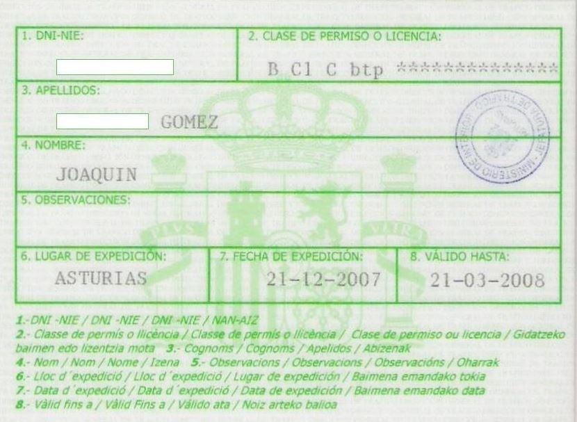 Autorización temporal del permiso de conducir en España.