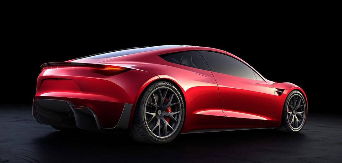 Nuevo roadster de tesla en rojo.