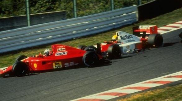 Alain Prost y Senna en el accidente de Japón de 1990