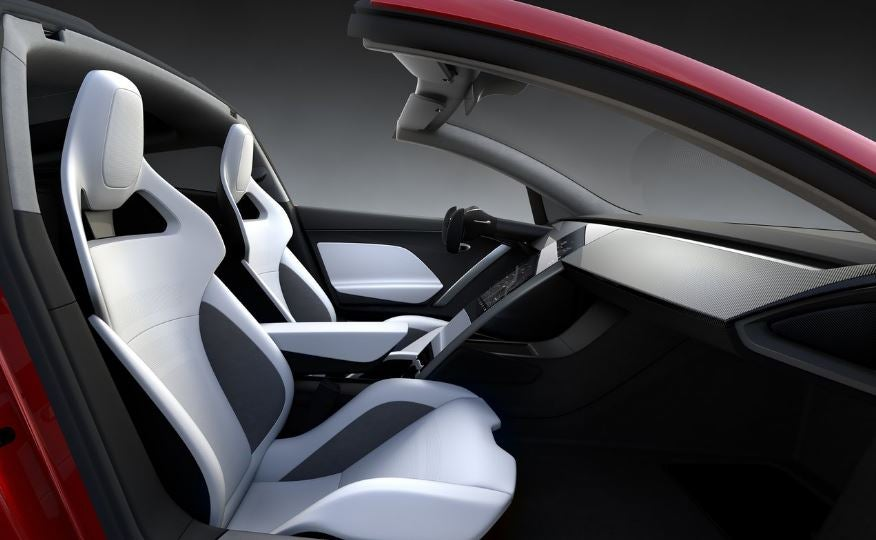 Interior del Tesla Roadster.