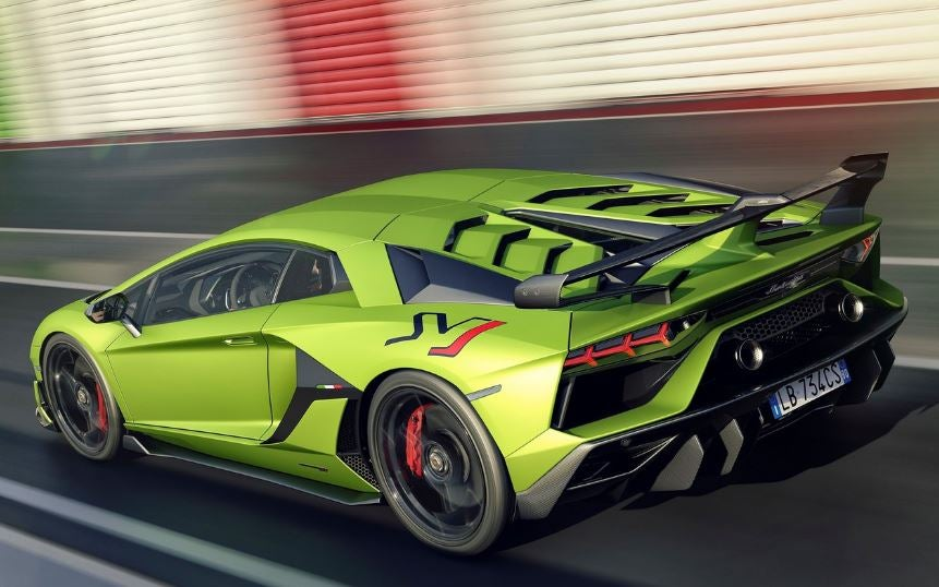 Exterior del Lamborghini Aventador SVJ.