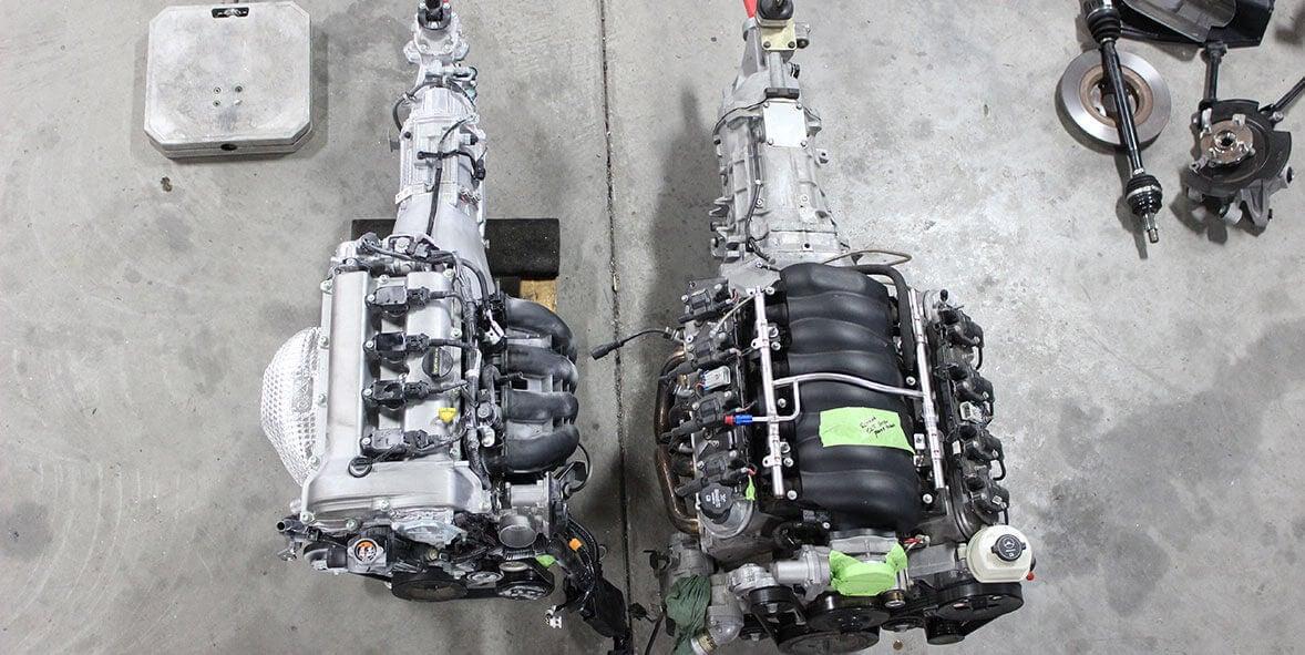 Comparación del motor Skyactiv 2.0 y el V8 LS3 del Chevrolet Camaro.