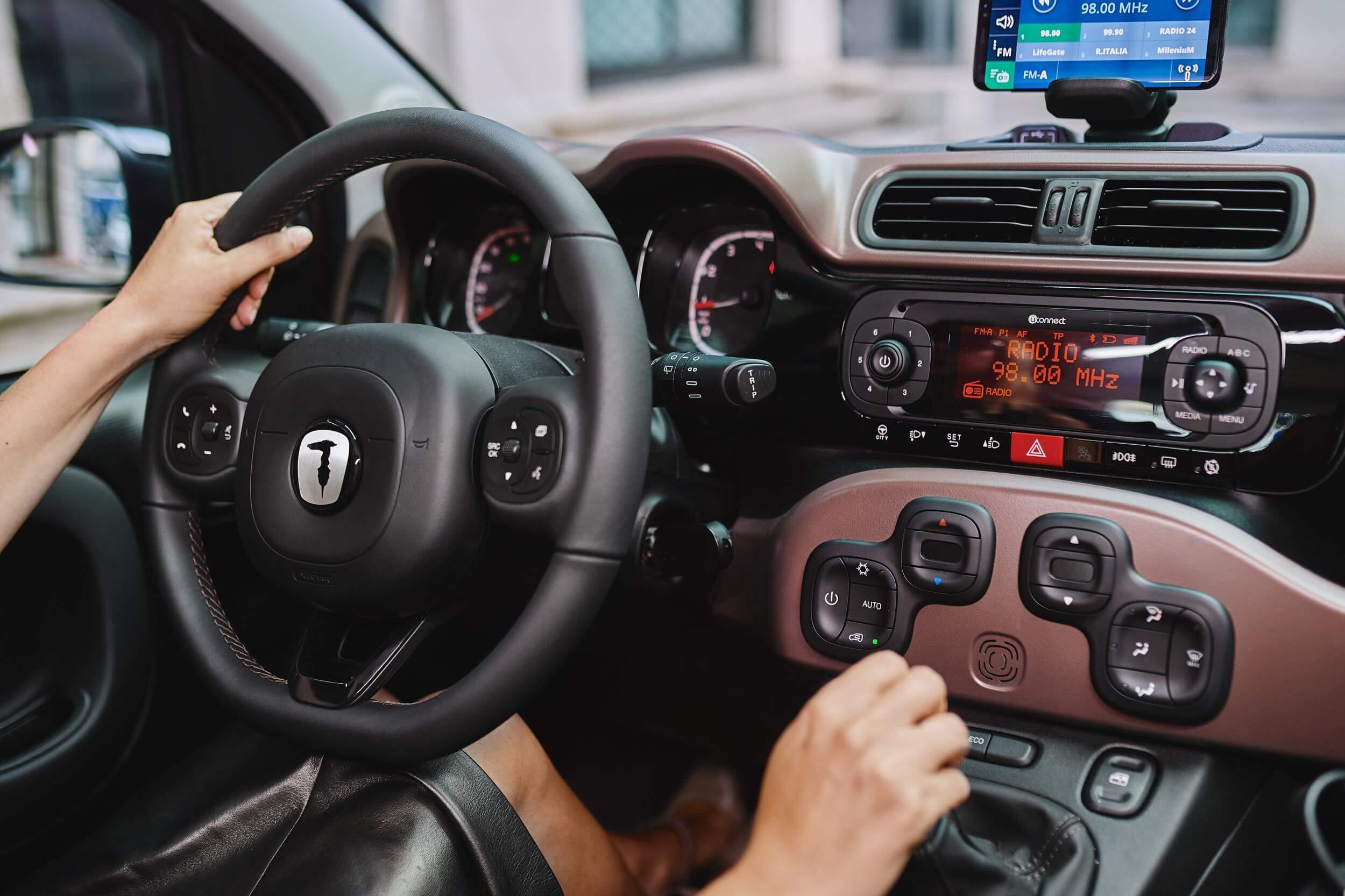 Interior del Fiat Panda Trussardi