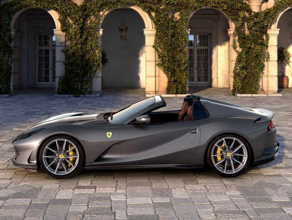 Ferrari 812 GTS, diseño lateral.