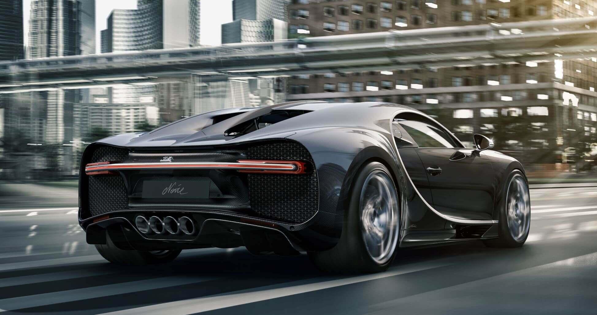 Trasera del Bugatti Chiron Noire.